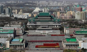 A rehearsal for the 'Day of the Sun' celebrations at Kim Il Sung Square in Pyongyang.