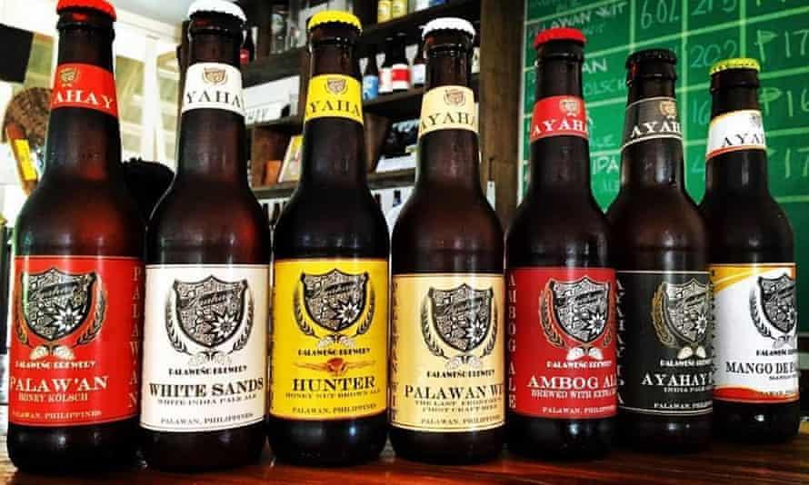 Beer bottles at Palaweño Brewery, Philippines.