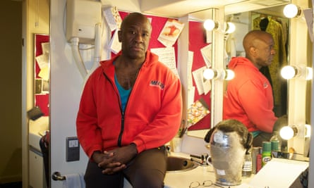 Lucian Msamati in his dressing room at London's National Theatre, where he's starring in Amadeus.