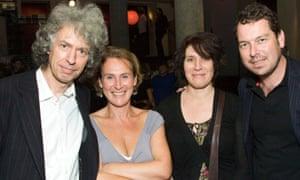 Stephen Jeffreys, Helen Schlesinger, April De Angelis and Joe Penhall at the Royal Court in 2008.