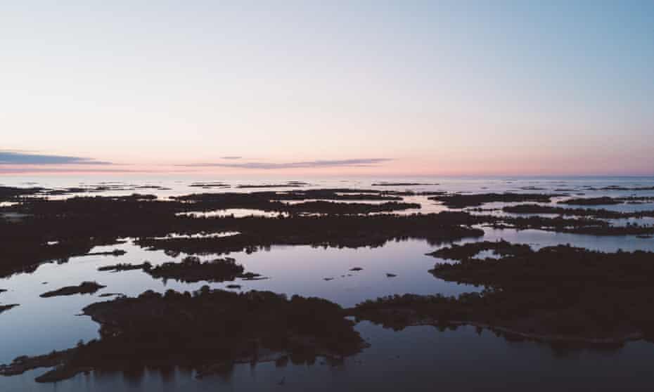 Islands of the Saint Anna archipelago seen from above.