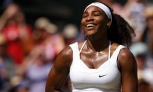 Serena Williams celebrates her sixth Wimbledon title on Saturday.