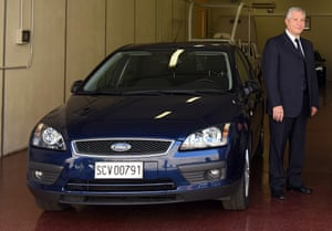 Driver Renzo Cestiè with the Pope's Ford Focus.