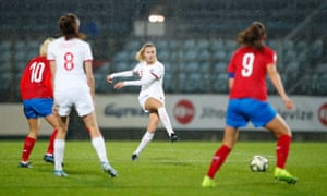 Leah Williamson of England shoots at goal.