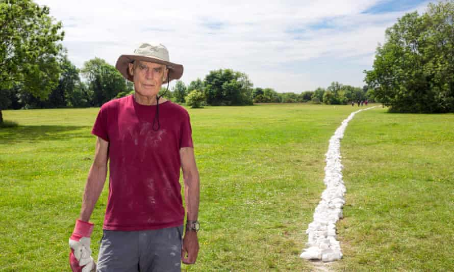 Richard Long next to Boyhood Line, which he thinks may end up in people's rockeries.