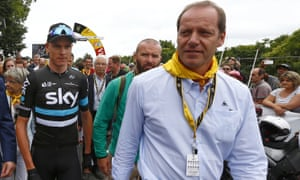 Tour de France race director Christian Prudhomme (right) with Chris Froome during the 2016 Tour de France, one of the Team Sky rider's four victories.