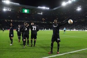Dame N'Doye celebrates scoring Copenhagen's third goal.