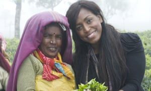 The soul singer Mica Paris, a Fairtrade ambassador, visiting tea producers in India.