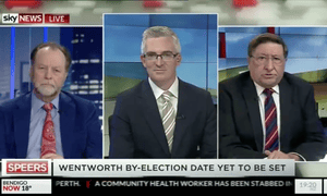 Grahame Morris, right, with David Speers, centre, on Sky News. Morris described Labor's female MPs as 'dregs'