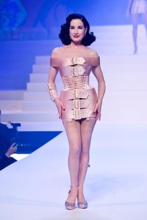 Burlesque performer Dita von Teese wore a nude corset