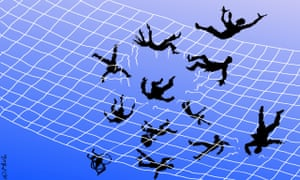 People falling through a safety net