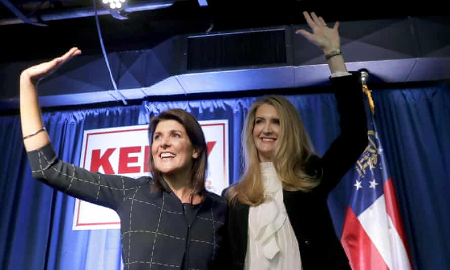 Haley campaigns with senator Kelly Loeffler at a re-election campaign rally on 9 March 2020, in Marietta, Georgia.