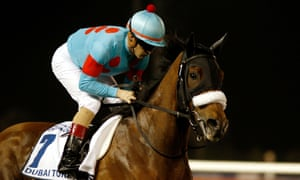 Almond Eye shortly before Saturday's victory in the Dubai Turf.