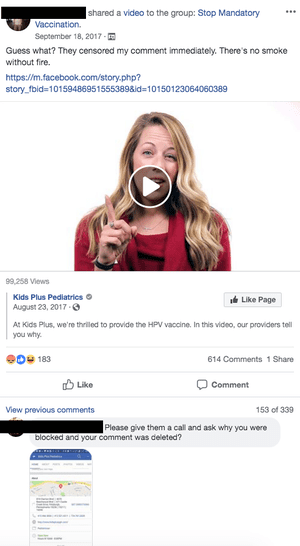 A video shared in Stop Mandatory Vaccination garnered more than 600 comments where users urged each other to harass a Pittsburgh pediatrics practice.