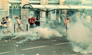 Clashes in the Old Port area of Marseille involving England fans in 1998.