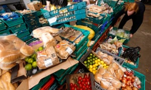 Surplus food donated by supermarkets at the Real Junk Food Project, to be redistributed by volunteers to schools, cafes and restaurants