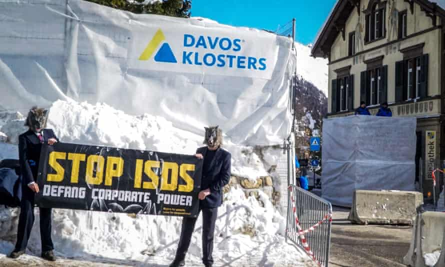 Protesters outside the World Economic Forum in Davos