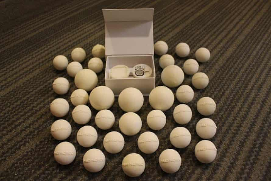 Prototypes of Paso Pacifico's fake eggs. The small balls on the outside hold the GPS transmitter which will then be fit into the larger shells, forming the inner ring of the photograph.