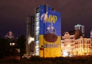 A mural declaring peace to Ukraine in central Kiev. Tensions escalated once again between Russian and Ukraine last week after Moscow accused Kiev of planning terror attacks in Crimea