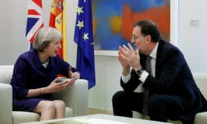 Theresa May meets the Spanish caretaker prime minister, Mariano Rajoy, in Madrid on Thursday.