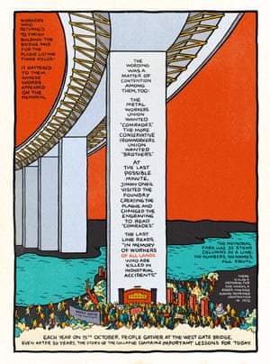 Panel 8 of 8 of the self-contained graphic retelling of the 1970 collapse of the Melbourne West Gate Bridge by artist Sam Wallman, drawing on the research of Elizabeth Humphrys and Sarah Gregson, edited by Jacinda Woodhead