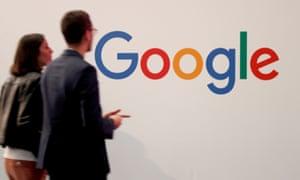 The Google logo is seen at VivaTech fair in Paris