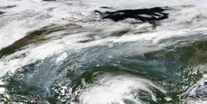 Satellite images show wildfire smoke over central Siberia on 3 July