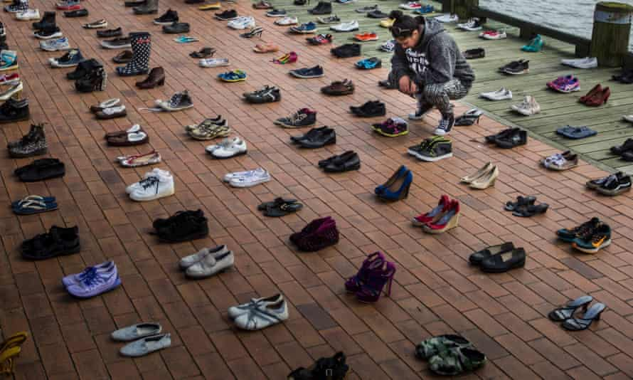 The 606 pairs of shoes representing each person lost in 2016 and 2017 to suicide in New Zealand.