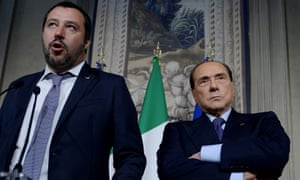 Salvini and Silvio Berlusconi in Rome in May