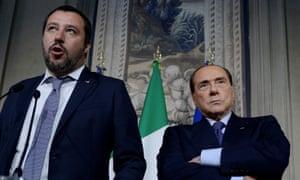 Matteo Salvini with Silvio Berlusconi.