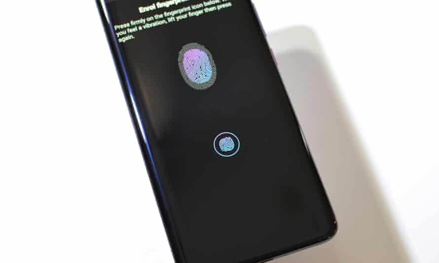 The in-screen fingerprint scanner works in one particular spot that lights up when needed.