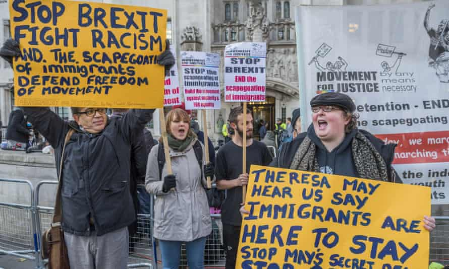 Remain campaigners outside the court in London