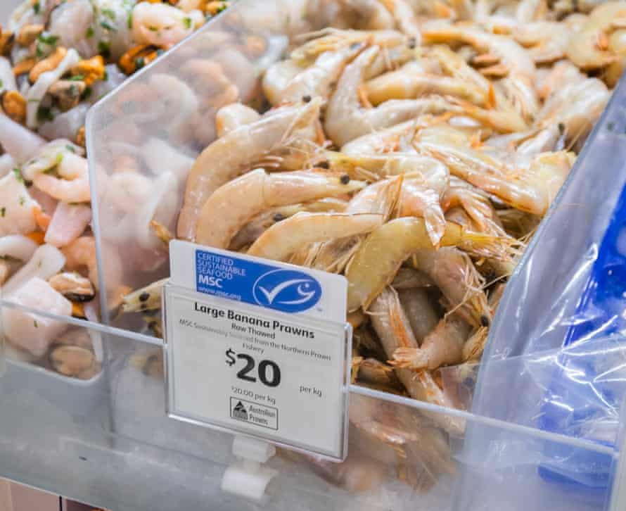 Marine Stewardship Council-certified banana prawns in a supermarket