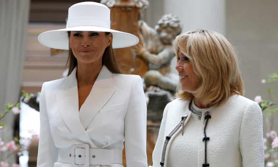 Melania Trump and Brigitte Macron at the National Gallery of Art. 'She's much more constrained than I am. I go out every day in Paris,' said Macron of Trump.