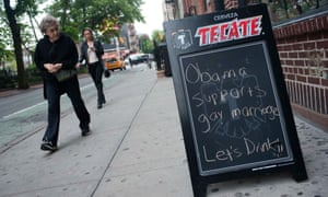 A sign in front of the Stonewall Inn in 2012 applauded President Obama's support for same-sex marriage.