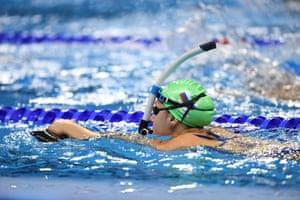 Daria Ustimova of Russia during a training session at the Olympic Aquatics Stadium.