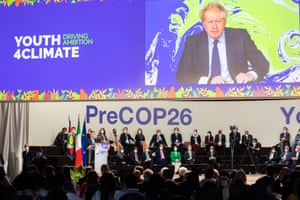 Boris Johnson addressing the Youth4Climate pre-Cop26 event taking place in Milan by video today.