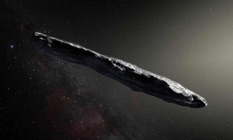 An artist's impression of the asteroid, named 'Oumuamua