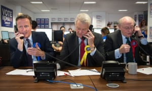 David Cameron, Paddy Ashdown and Kinnock (R) making campaign calls for Britain Stronger in Europe before last month's EU referendum.