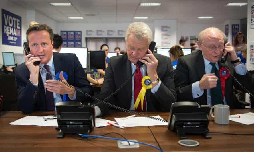 Ashdown, centre, with David Cameron and former Labour party leader Neil Kinnock, make campaign calls during the EU referendum campaign.