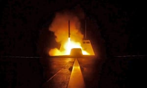 A picture released by the French Defence audiovisual communication and production unit (ECPAD) shows the launching of a cruise missile from a French military vessel in the Mediterranean sea towards targets in Syria
