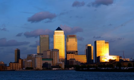 Visions of London wealth … Canary wharf financial district.