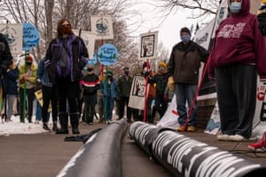 Activists protest the Enbridge Energy pipeline project on 14 November.