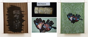 Textile paintings Mobile Phone, 2017, left, and Dark woollen gloves with red and blue Spiderman print, 2017, with the lost belongings that inspired them
