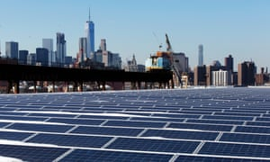 A rooftop is covered with solar panels at the Brooklyn Navy Yard in New York.