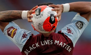 Tyrone Mings from Aston Villa makes a substitution during the match against Sheffield United at Villa Park on June 17.