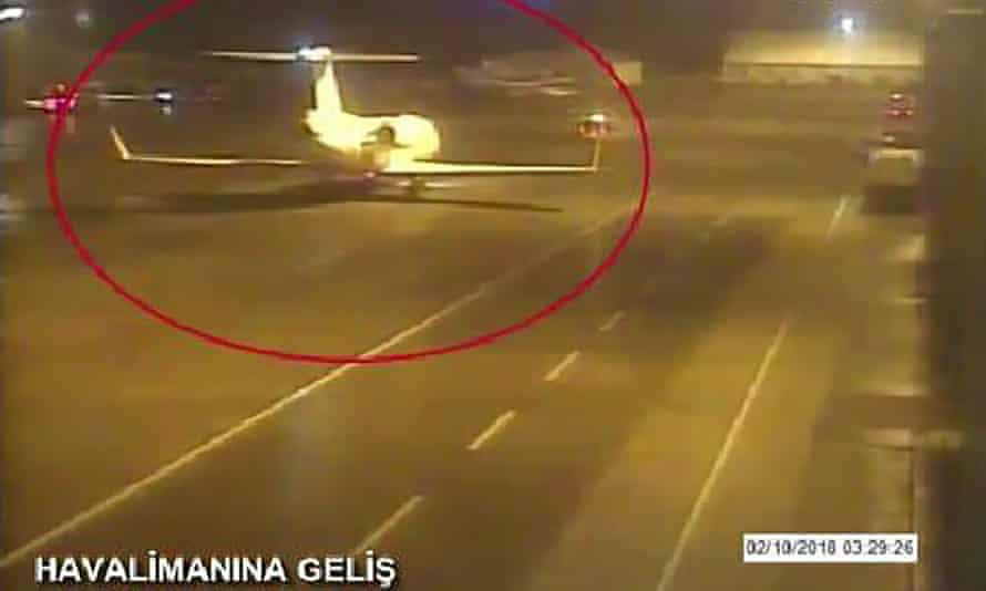 One of two private jets alleged to have ferried in a group of Saudi men suspected of being involved in Khashoggi's disappearance, at Istanbul's Ataturk airport on 2 October.