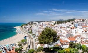 Beach and town of Sant Pol de Mar, Catalonia, Spain.
