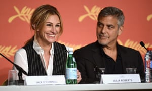 Julia Roberts and George Clooney at the Money Monster press conference.
