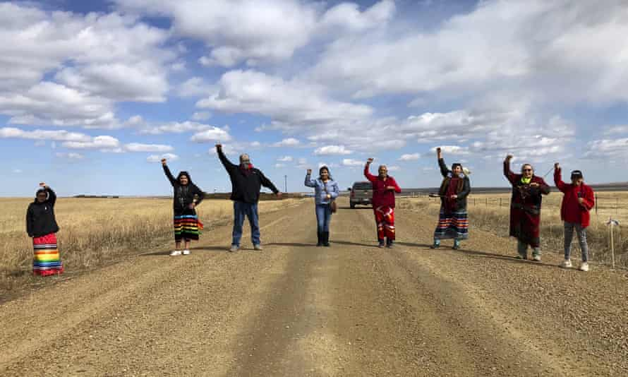 Indigenous activists protest a Keystone construction site near the US-Canadian border in Montana, May 2020.